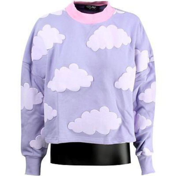 04e107bf sweater, lazy oaf, cute, cloud sweater, clouds sweatshirt, aesthetic ...