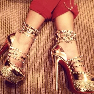 shoes gold heels stilettos stud studded strappy
