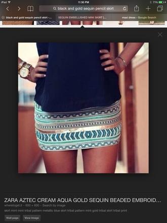 shirt sequin skirt teal