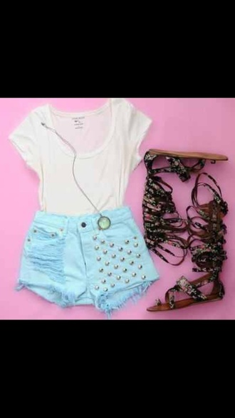 shorts white blue fashion studs