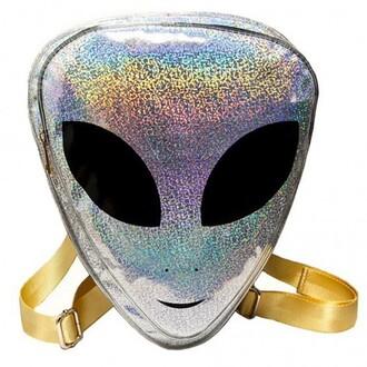 bag alien cool trendy silver sparkle glitter teenagers boogzel