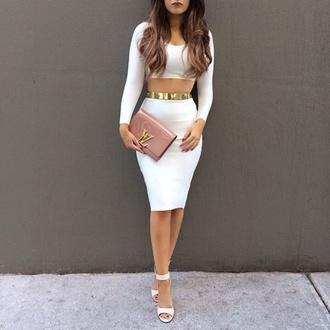 dress all white classy heels hair