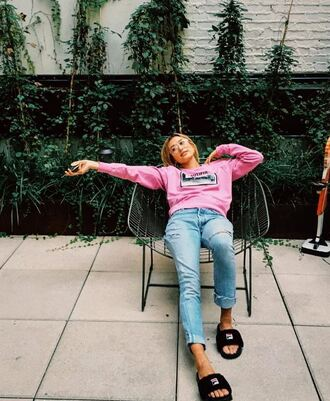 sweater sweatshirt hailey baldwin slide shoes jeans instagram pink