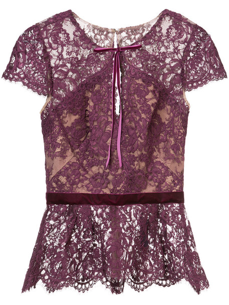 Marchesa Notte - lace peplum blouse - women - Nylon - 12, Pink/Purple, Nylon