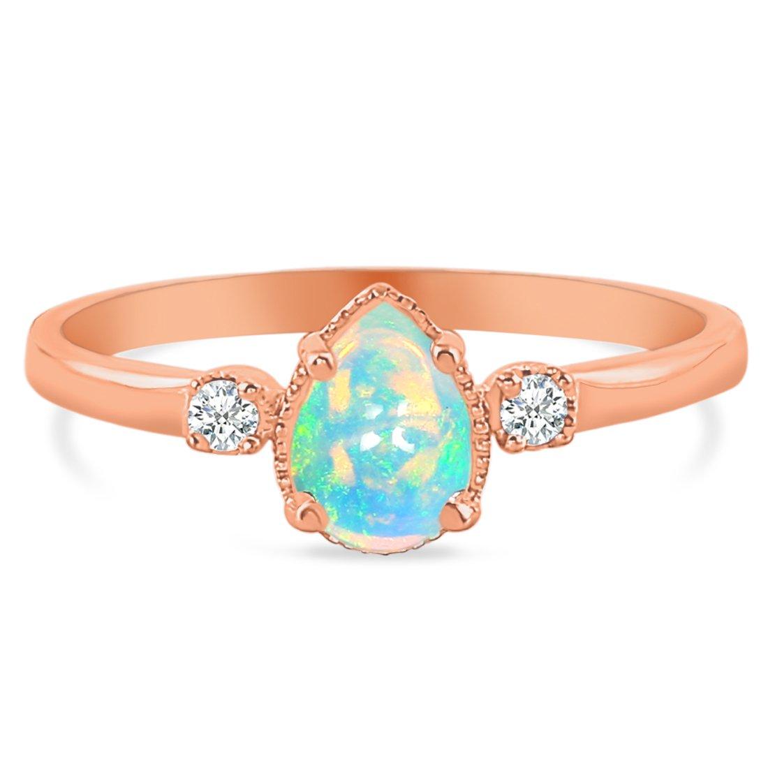 14k Rose Gold Vermeil Opal Ring-Exist