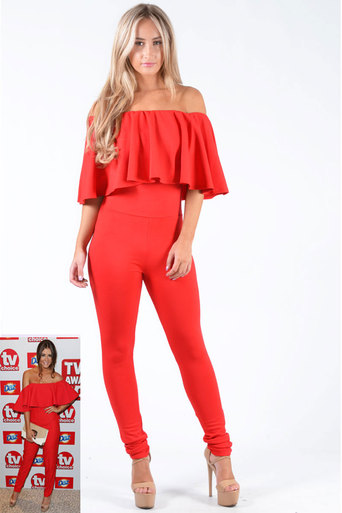 Brooklin Off The Shoulder Ruffle Jumpsuit In Red - Pop Couture