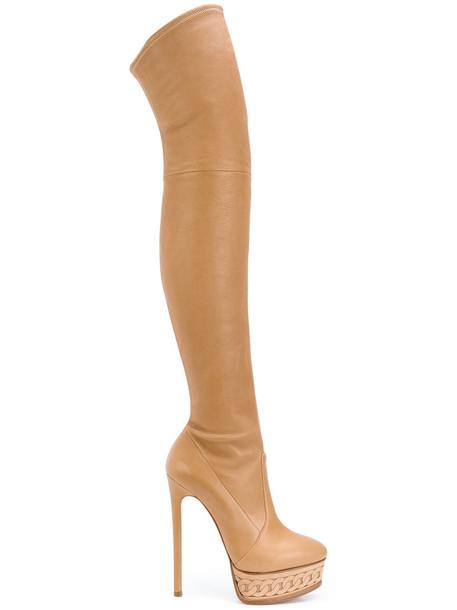 CASADEI women platform boots leather brown shoes