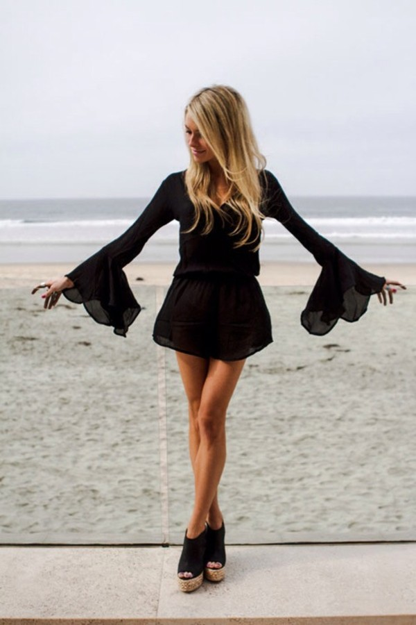 dress romper chiffon wings black summer cute style peplum shoes wedges heels long dress romper black long sleeved romper with lace ruffle sleeves