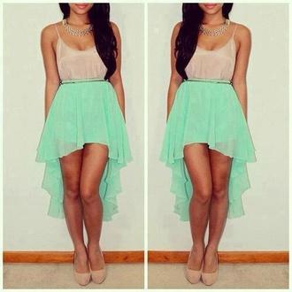 dress pretty mint teal tan cute girly high low blue