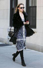 dress,boots,fall outfits,dakota johnson,scarf,coat,midi dress,boho dress