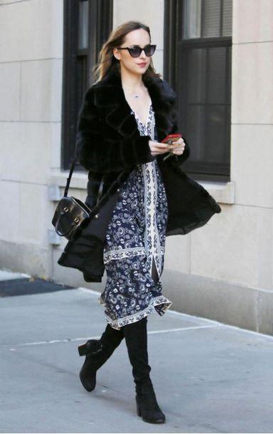 dress boots fall outfits dakota johnson scarf coat midi dress boho dress