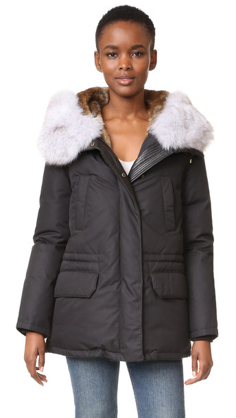 Army By Yves Salomon Down Parka With Fur Trim - Black/Natural
