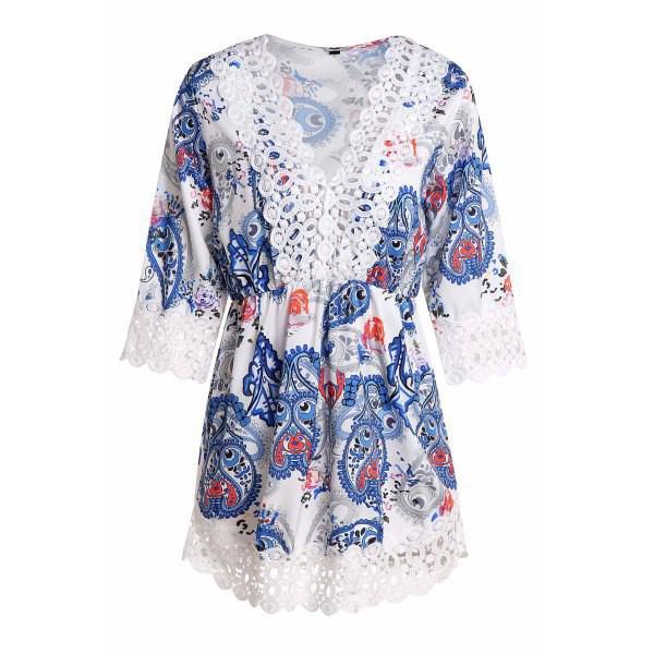 romper blue fashion style boho festival trendy three-quarter sleeves trendsgal.com