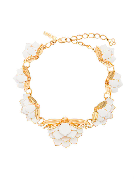 oscar de la renta women necklace white jewels