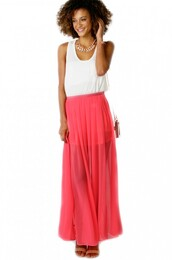 skirt,maxi skirt,summer skirt,sexy skirt,pink skirt,chiffon skirt,beach skirt,casual,summer outfits,shopakira
