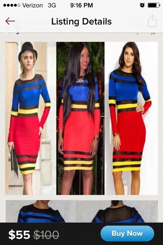 dress red blue yellow black colorblock cut-out