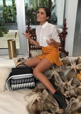 shoes ankle boots olivia culpo mini skirt skirt blouse shirt instagram fall outfits purse