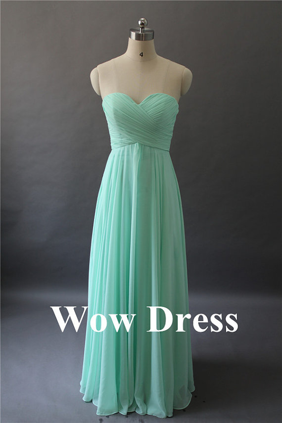 Mint bridesmaid dress/ long bridesmaid dress/ by wowdress on etsy