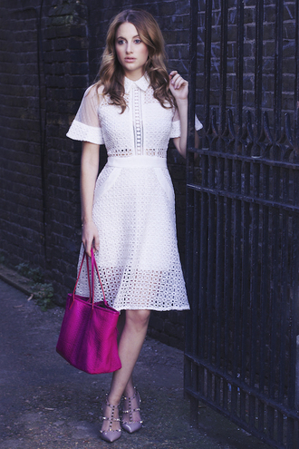 see through blogger at fashion forte bag jewels white dress studded shoes