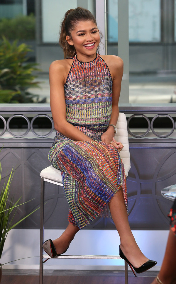 dress pumps zendaya summer outfits summer dress multicolor long dress high heel pumps