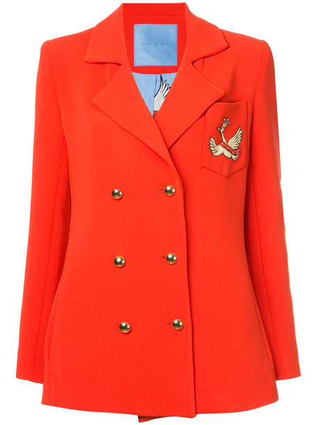macgraw blazer double breasted women silk red jacket