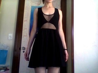 dress see through dress black dress cut-out cut out dress sheer little black dress black sheer dress tumblr underwear