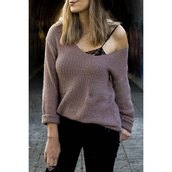 sweater,rose wholesale,sexy,off the shoulder,style,purple,streetstyle,fashion,knitwear,fall outfits,trendy,long sleeves