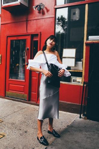 natalie off duty blogger blouse skirt shoes bag jewels white blouse loafers midi skirt black bag metallic skirt summer outfits