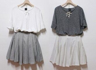 skirt fall outfits blouse sweater grey whit shirt white lace lace up t-shirt dress white skater skirt grey skater skirt skater skirt grey blouse white blouse both of them casual bohemian boho cute comfy top grey and white tumblr pale high waisted short long laces summer winter outfits swag tumblr clothes girly scarf thin silky oversized hipster clothes pleated skirt fluffy cool solid grunge urban chic grey t-shirt simple tee bff grey shirt white shirt grey skirt white skirt vintage mini dress sweet skirt and blouse blouse and skirt  sets white dress grey dress white & gray cute dress lovely monochrome beautiful georgeous outfit minimalist gray shortsleeve short sleeve summer top gray t shirt cute pretty grey sweater