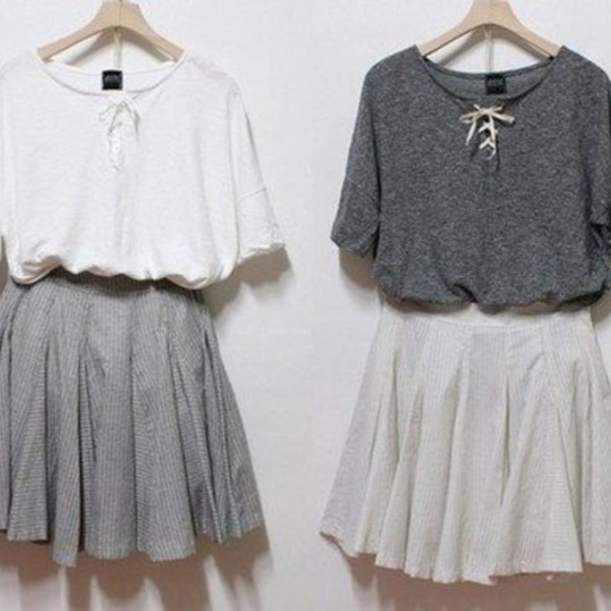 Cute Outfits With a White Dress Shirt Grey T-shirt White Dress