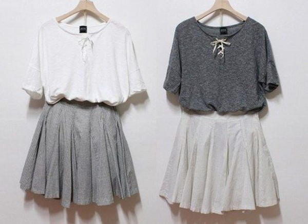 skirt fall outfits blouse sweater grey whit shirt white lace lace up t-shirt dress white skater skirt grey skater skirt skater skirt t-shirt grey blouse white blouse both of them casual bohemian boho cute comfy top grey and white tumblr pale high waisted short long laces summer winter outfits swag tumblr clothes girly scarf thin silky oversized hipster clothes pleated skirt fluffy cool solid grunge urban grey chic grey t-shirt simple tee bff grey shirt white shirt grey skirt white skirt vintage mini dress sweet skirt and blouse blouse and skirt  sets white dress grey dress white & gray cute dress lovely monochrome beautiful georgeous outfit minimalist gray shortsleeve grey t-shirt short sleeve summer top gray t shirt cute pretty grey sweater