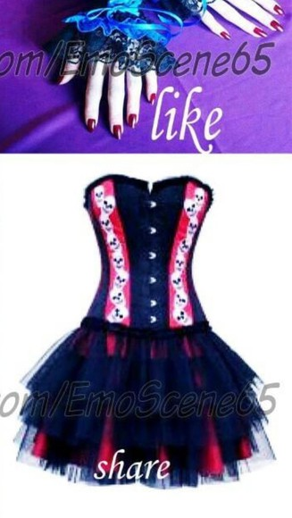 dress tutu dress tutu corset dress corset skull emo gothic mini dress