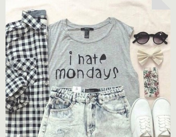 outfit skater tank top conerse i hate monday quote on it