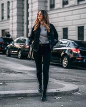 jacket,denim jacket,black denim,oversized jacket,boots,jeans,skinny jeans,black jeans,grey top,shoulder bag