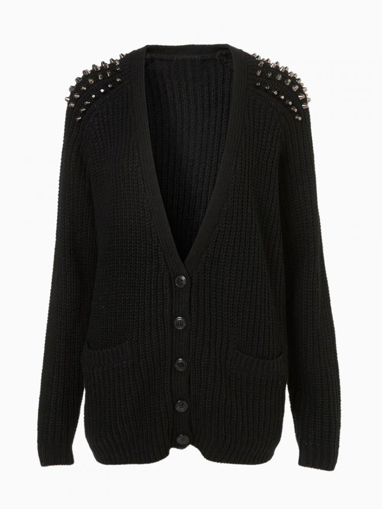 Cardigan With Studded Shoulder | Choies