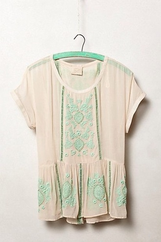 shirt mint embroidery peplum top short sleeve