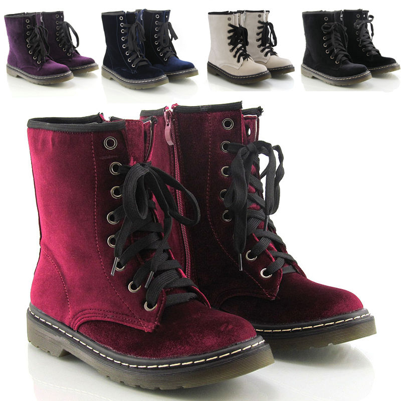 Womens Lace Up Ladies Velvet Vintage Retro Combat Goth Punk Ankle Boots Shoes | eBay