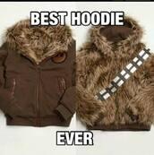 sweater,hoodie,brown,star wars,wookie,fluffy,chewbacca,jacket