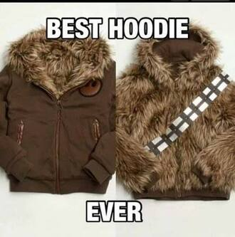 sweater hoodie brown star wars wookie fluffy chewbacca jacket
