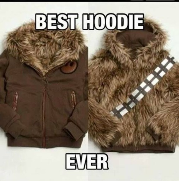 sweater star wars hoodie brown wookie fuzzy chewbacca