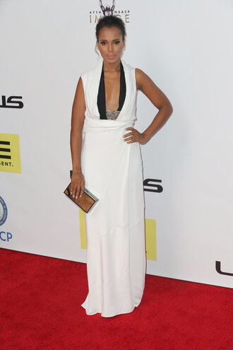 dress gown prom dress kerry washington white white dress red carpet dress plunge dress maxi dress clutch metallic clutch