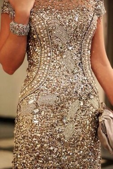 rhinestone dress prom dress glitter gold dress embellished dress body con dress sexy dress short dress girly