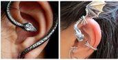 jewels,dragon,snake ear cuff,snake,black,silver,earings,ear cuff,piercing,cool,girly grunge,gorgeous,socute,hot,jewelry