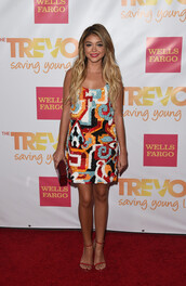 dress,colorful,sandals,sarah hyland,shoes