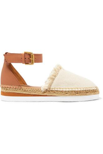 espadrilles leather neutral shoes
