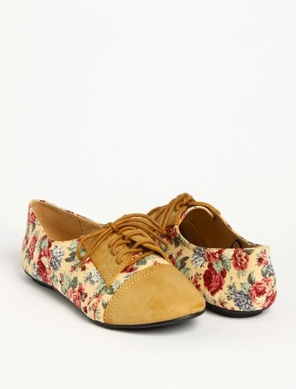 shoes floral tan and floral oxfords flats oxfords