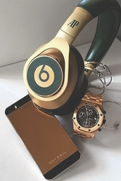 earphones,beats by dr dre,beats,headphones,gold,black,watch