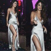 dress,silk dress,satin dress,silver,silver dress,silk,satin,long dress,slip dress,gown,prom dress,prom gown,slit dress,sexy v-neck dress