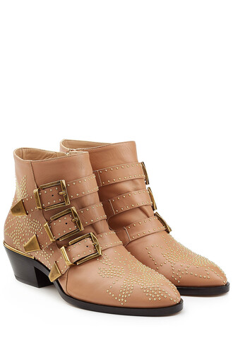 studded boots ankle boots beige shoes