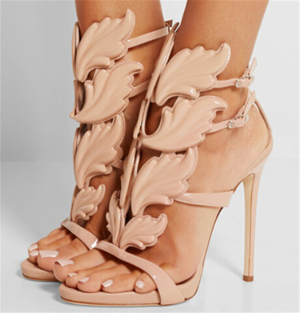 Trendy Women High Heels Leaf Sandals Shoes Woman Wing Gladiator ...